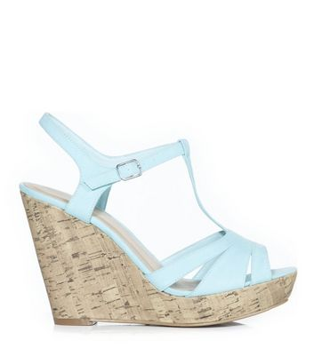 Mint Green Strappy T-Bar Cork Wedges