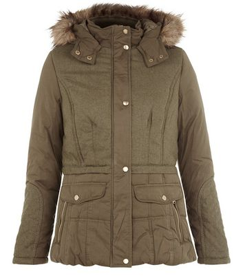 Khaki Contrast Faux Fur Trim Hooded Parka