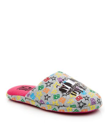 Teens Grey One Direction Mule Slippers