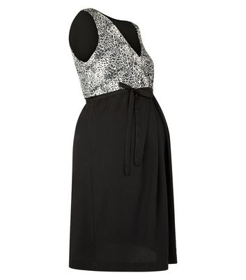 Mamalicious Black Animal Print Contrast Dress