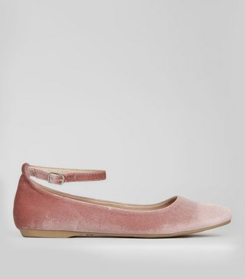 Wide Fit Pink Velvet Pointed Pumps