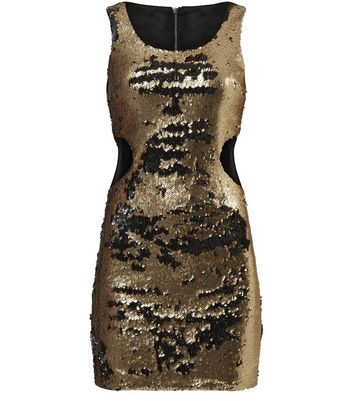 Dolly & Delicious Gold Sequin Cut Out Dress