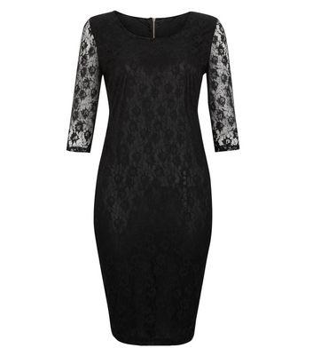 New look black lace midi dress