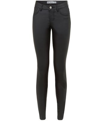 Black coated skinny jeans new look