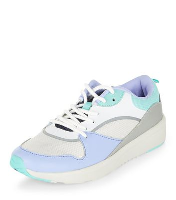 Teens Lilac Colour Block Lace Up Trainers