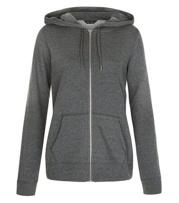 Dark Grey Basic Zip Up Hoodie