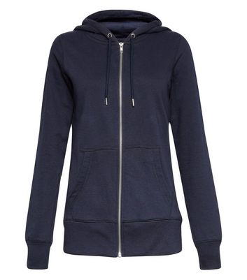 Navy Basic Zip Up Hoodie