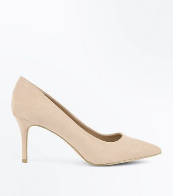 Stone Suedette Mid Heel Pointed Court Shoes