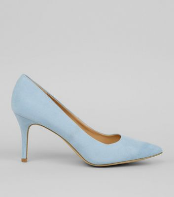 Blue Suedette Mid Heel Pointed Court Shoes