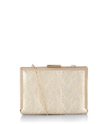 Gold Faux Snake Skin Box Clutch Bag