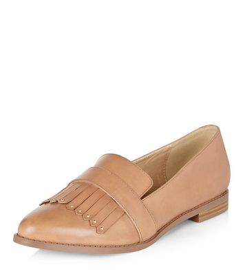 Tan Leather Fringed Trim Loafers