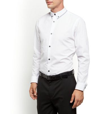 White Contrast Trim Collar Long Sleeve Shirt