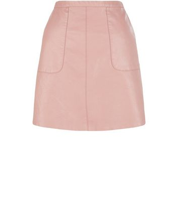 Shell Pink Leather-Look A-Line Skirt