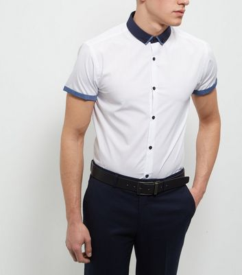 White Contrast Trim Short Sleeve Shirt