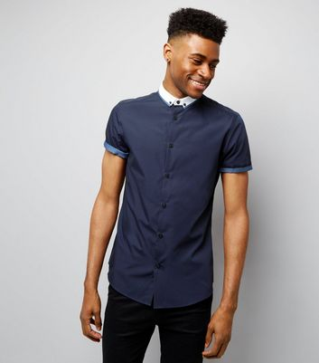 Navy Contrast Trim Short Sleeve Shirt