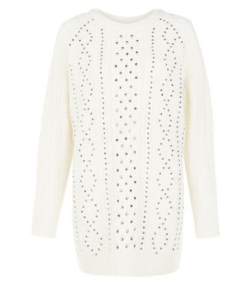Cream Premium Cable Knit Studded Jumper