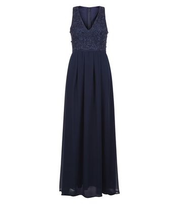 AX Paris Navy Lace Panel Maxi Dress
