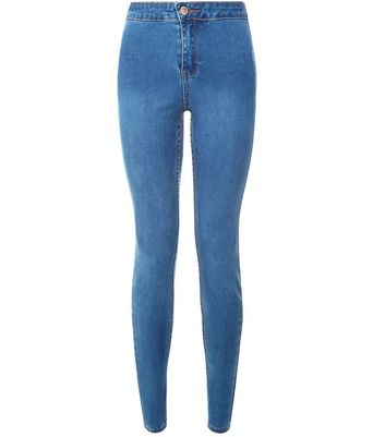Jeans super skinny bleu taille haute