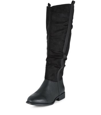 Wide Fit Black Suedette Panel Tab Side Boots
