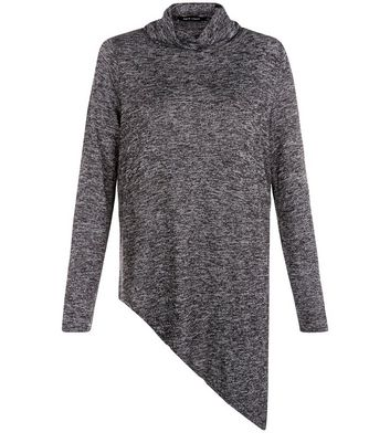 Dark Grey Fine Knit Cowl Neck Asymmetric Top