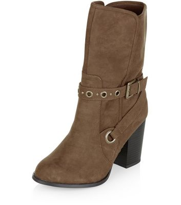 Wide Fit Light Brown Suedette Eyelet Strap Calf High Boots