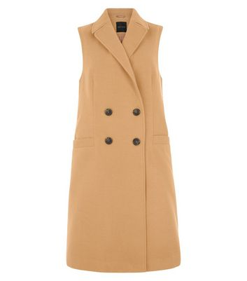 Camel Double Breasted Sleeveless Coat