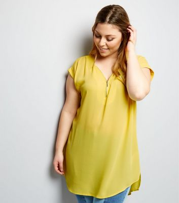 Curves Yellow Zip Front Tunic