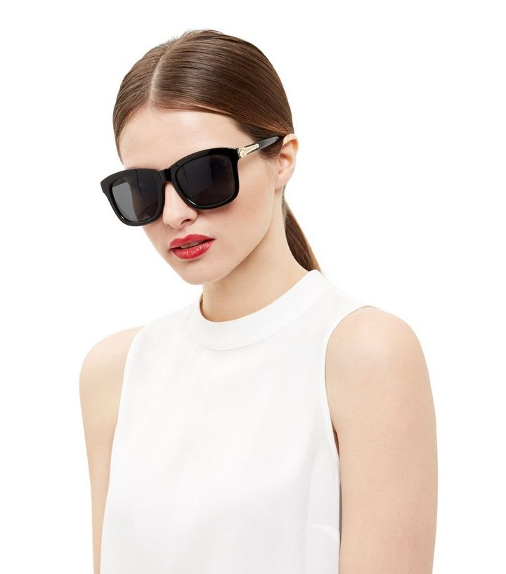 Black Wide Frame Square Glasses | New Look