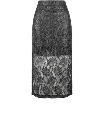 Jumpo Silver Lace Pencil Skirt