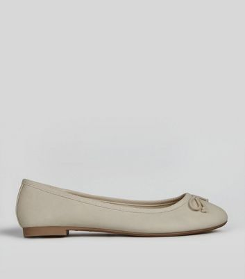 Cream Bow Front Ballet Pumps