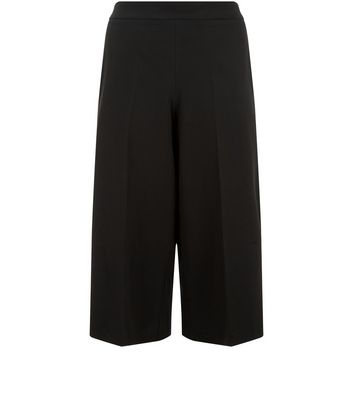 Plus Size Black Pleat Front Culottes