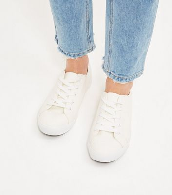 Wide Fit Cream Lace Up Plimsolls