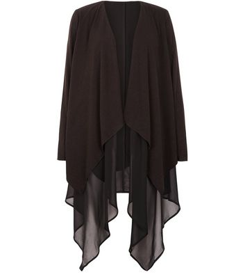 Apricot Black Chiffon Waterfall Cardigan | New Look