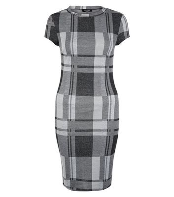 Petite Black Check Midi Dress
