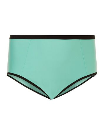 Curves Blue Contrast Trim High Waisted Bikini Bottoms