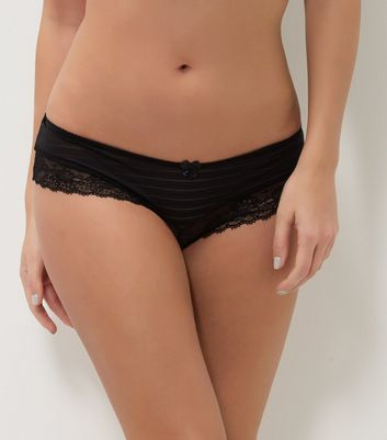 Black Stripe Lace Leg Briefs