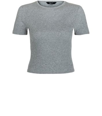 Teens Grey Ribbed Crop Top