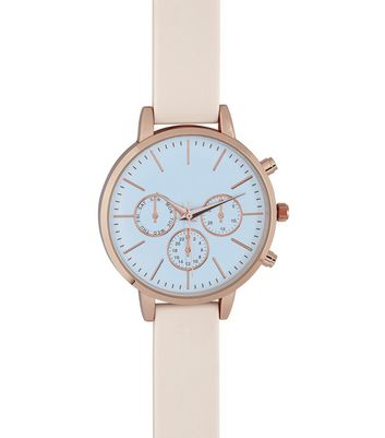 Mid Pink Silicone Strap Contrast Face Watch