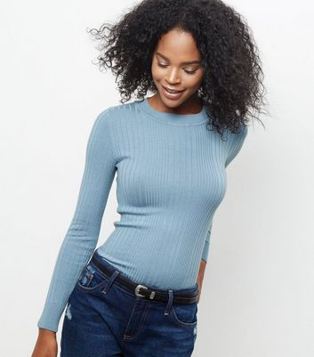 Pale Blue Ribbed Jumper