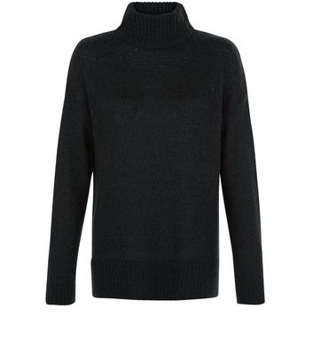 Tall Dark Green Ribbed Turtle Neck Jumper