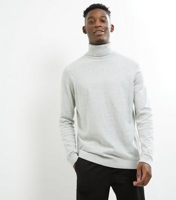 Silver Cotton Roll Neck Jumper