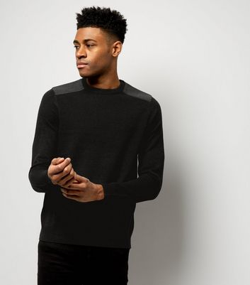 Black Textured Patch Jumper