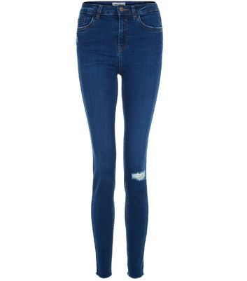Navy Ripped Knee Skinny Jeans