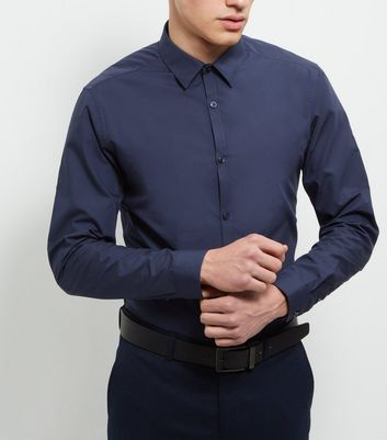 Navy Cotton Mix Long Sleeve Shirt