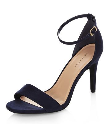Navy Suedette Ankle Strap Heeled Sandals