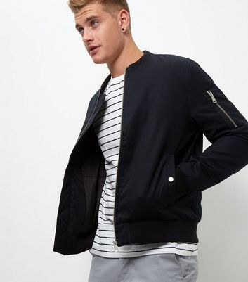 Navy Zip Sleeve Bomber Jacket