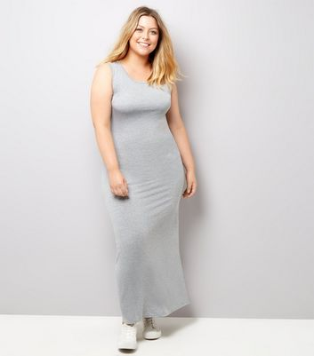 Curves Grey Jersey Maxi Dress