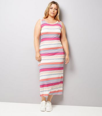 Curves Pink Stripe Maxi Dress