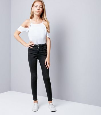 Teens Black High Waisted Skinny Jeans