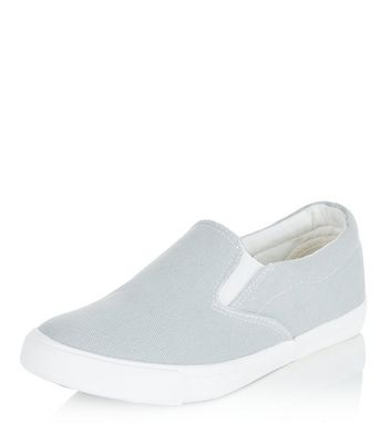 Slip-ons Wide Fit en toile grise